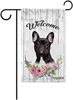 BAGEYOU Welcome Spring Summer Flowers Cute Dog Frenchie Decorative Garden Flag Lovely Puppy Floral Seasonal Home Decor Ban...