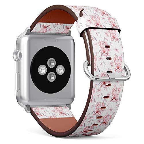 Compatible with Apple Watch Serie 6/5/4/3/2/1 (Small Version 38/40 mm) Leather Wristband Bracelet Replacement Accessory Band + Adapters - Pig Flowers Watercolor