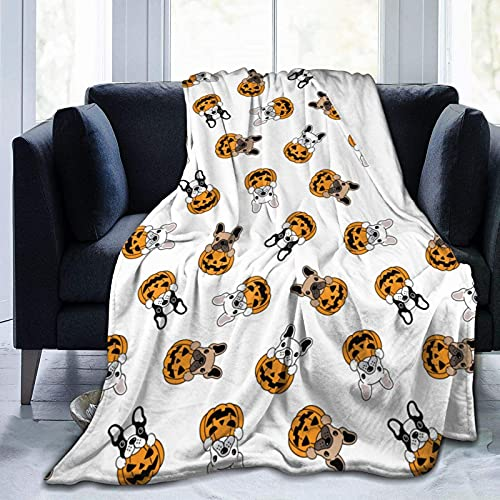 Blanket French Bulldog Pumpkin Halloween Flannel Fleece Throw Blankets for Baby Kids Men Women,Soft Warm Blankets Queen Size and Throws for Couch Bed Travel Sofa 50'X40'