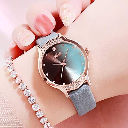 ZWH Aliexpress New Trend Fashion Ladies Watch Mesa de Personaje de gradiente de Alto Color Reloj de Cuarzo a Prueba de Agua Salvaje (Color : Green 65850)