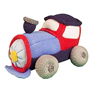 crib bedding and baby bedding zubels baby timmy the train hand-knit plush rattle toy, all-natural fibers, eco-friendly, 100% cotton