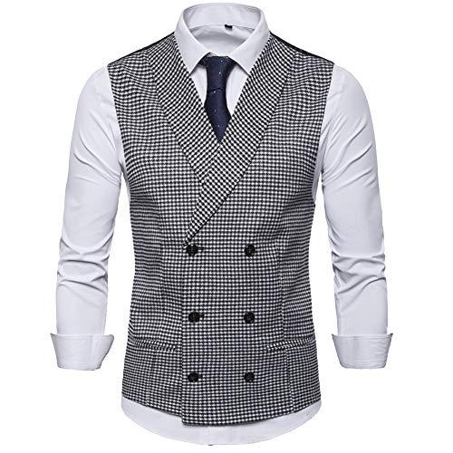Elegeet Men's Double Breast Shawl Lapel Suit Vest Houndstooth Pattern Waistcoat Black White X-Large