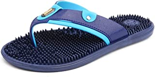 Shoes Comfortable Men Slippers Slip-on Plastic Upper Summer Casual Massage Insole Anti-Slip Open Round Toe Flat Lightweight Fashion (Color : Blue, Size : 8 UK)