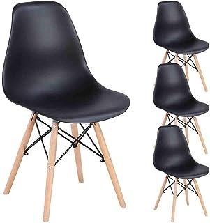 Juego de 4 sillas de comedor de N A MUEBLES HOME Eiffel de mediados de siglo de cocina modernas con patas de madera para comedor, dormitorio, sala de estar