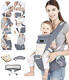 Azeekoom Babytrage Ergonomische, Kindertrage mit Hüftsitz, Befestigungsgürtel, Lätzchen, Schultergurt, Kopfbedeckung für Neugeborene bis Kinder von 3 bis 48 Monaten (Grau)