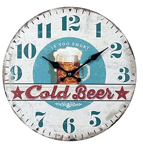 Reloj de Pared Decorativo de Madera Multicolor Jarra Cerveza FrÍa A Elegir. Adornos. Decoración Hogar. Muebles Auxiliares. Menaje . Regalos Originales. 34 x 4 x 34 cm. (Jarra MARRÓN)
