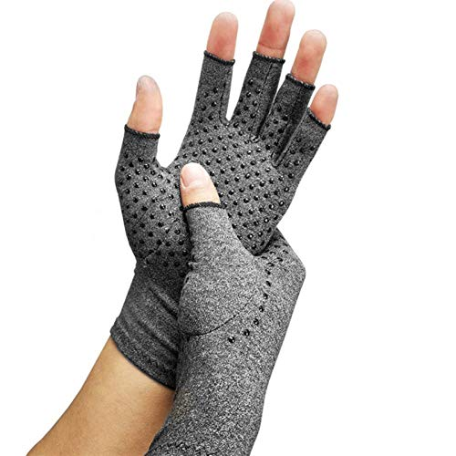 SianoS Rehabilitation For Men And Women 1 Pair Anti-slip Arthritis Gloves Arthritic Joint Pain Relief Hand Gloves Rheumatoid Hand Pain Wrist Massage Gloves Pression Gloves (Color : M gray)
