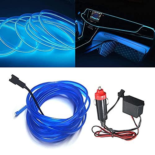 El kit de alambre del alambre Luces de coche Luces LED con interior frío Decoración del coche Atmósfera Tubos de neón redondos DC 12V Inversor de 360 grados Iluminación (Blue, 3M/9FT)