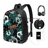 Ligero Daypack Boy Game Fun Football Sport Girl College Bag con Puerto de Carga USB y Puerto de Auriculares para Viajes de Trabajo Universitario