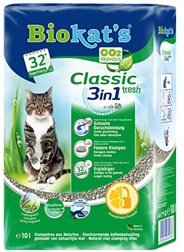 Biokat's Arena para Gatos Classic Fresh 3 en 1 con Aroma primaveral, con 3 tamaños de Grano Diferentes, 1 Bolsa (1 x 10 L)