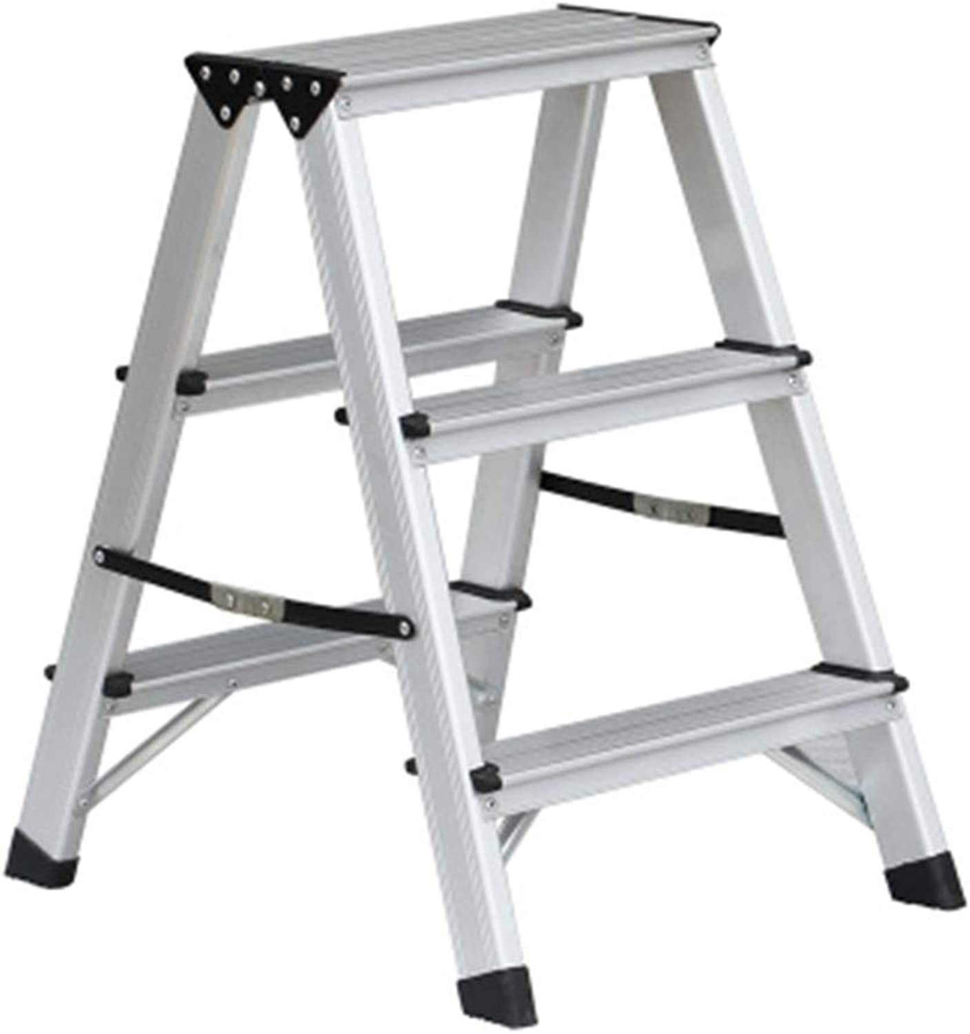 Stools Ladder Stool Home Folding Ladder Stool Thick Two-Step Three-Step Ladder Dual-use Small Ladder Chair Climbing Ladder (color   Silver, Size   39.5  59cm)