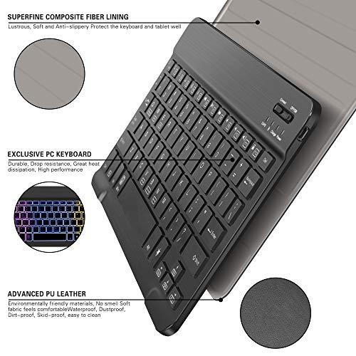 Hintergrundbeleuchtete Tastatur Hülle für Huawei MediaPad M5 Lite 10, [QWERTZ Deutsches], Ständer Schutzhülle mit magnetisch abnehmbar Tastatur für Huawei MediaPad M5 Lite 10.1 Zoll 2018, Oil - 6