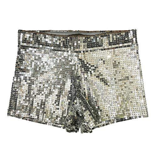 Damen Clubwear Pailletten Funkelnde Taille Shorts Mini Hot Pants DS Pole Dance Kostüm,Silver,XL