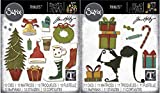 Tim Holtz Sizzix Holiday 2019 Thinlit Sets - Festive Things and Santa's Helper Elf - 2 Items