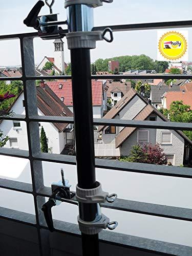 Holly – balkonhalterung de parasol pour de 25,5 à Ø 55 mm – Lot de 2 – Support pour parasol de balcon Gross – pour 25–50 mm Ø – Distance soleil Support de parasol pour balcon pour extérieur ou intérieur Fixation avec 11 + 6 cm Distance Porte-parapluie – Holly breveté – pour fixation au ronde ou eckigen Éléments de env. 2 à 55/60 m avec rayon 5 Compartiment dans le support multi – réglable – rotatif à 360 ° avec capuchons en caoutchouc – Distribution – Holly Mobile Mobile de protection de soleil Sunshade Holly®