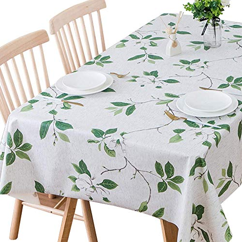 Plenmor Table Cloth Wipeable PVC Tablecloth Waterproof Wipe Clean Plastic Vinyl Table Cover Protector Rectangular for Outdoor Picnic Party (137x185 cm, Green Leaves)