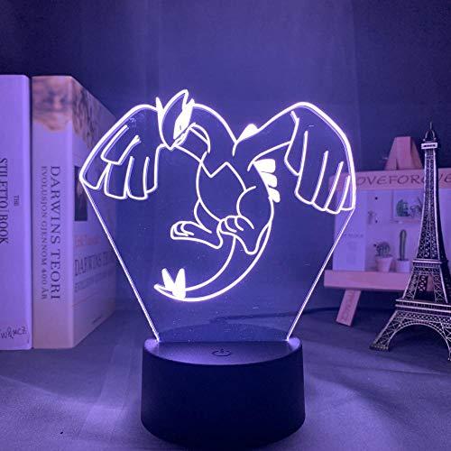 Acryl 3D Nachtlampe Lugia Figur Nachtlicht Für Kinder Schlafzimmer Farbwechsel Usb Schreibtisch Lampe Spiel Go Lugia Led Nachtlicht-7 Farben Keine Fernbedienung
