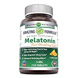 Amazing Formulas Melatonin Quick Dissolve-5 Mg Tablets(Non-Gmo,Gluten Free) Helps Fall Asleep Fast & Stays Asleep all Night-Helps Regulate Sleep Cycle - Calming & Relaxing Effect (250 Tablets, Citrus)