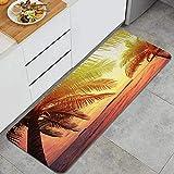XXX Alfombra de Cocina,Hermosa Foto de Puesta de Sol en Colores cálidos en una Playa Tropical, Cielo y océano dramáticos,Alfombrilla de Cocina Antideslizante Gruesa(45*120cm