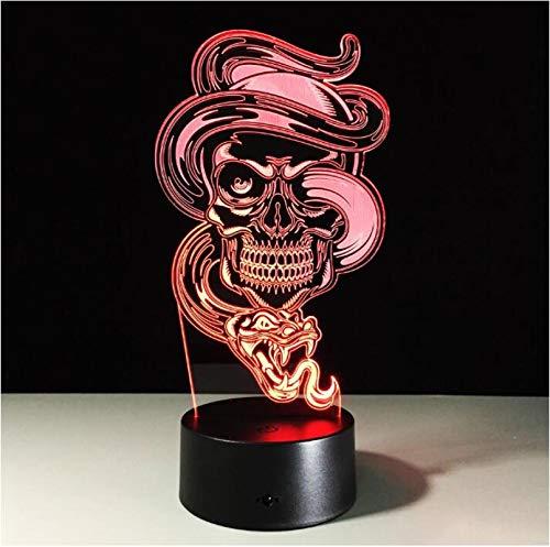 Lámpara Ilusión Optica 3D Serpiente Esqueleto De Halloween Luz De Noche 16 Colores Cambio Touch Led Usb Lámpara De Mesa Dormitorio Decoración Juguetes De Regalo De Navidad Y Cumpleaños Para Ni