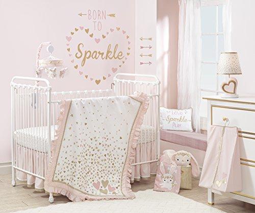 Lambs & Ivy Confetti Heart 4 Piece Crib Bedding Set, Pink Gold