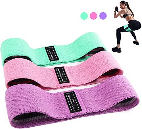 BEAU-PRO Elastici Fitness (3 Pezzi), Bande Elastiche di Resistenza Set di 3 Colorate Fasce Elastiche Fitness in Tessuto con 3 Livelli di Resistenza,per Esercizi Glutei, Yoga, Pilates, Palestra