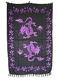 Sarong Pareo Drachen violett große Auswahl schönste Farben/Wickelrock Strandtuch Sauna-Tuch Wickelkleid Schal Wickeltuch Bademode Freizeitmode Sommermode/aus 100% Viskose