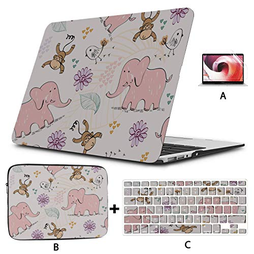 MacBook Protector Adorable Cute Kids Monkey and Banana MacBook Pro 2017 Accessories Hard Shell Mac Air 11'/13' Pro 13'/15'/16' with Notebook Sleeve Bag for MacBook 2008-2020 Version