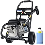 TEANDE 4200PSI Gas Pressure Washer 2.8GPM Power Washer Powered by 212CC, Outdoor Power Equipment with Soap Bottle, High Pressure Hose, 5 Nozzles (Black)