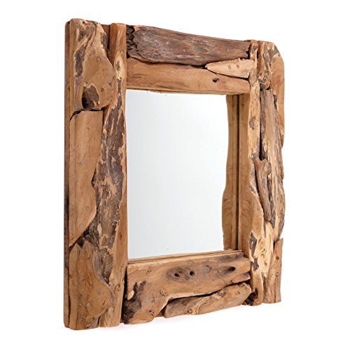 Houten WANDSPIEGEL Teak 50 | Teak, naturel, 50x50x3 cm (HxBxD) | spiegel met lijst van echt vintage drijfhout / gevonden hout