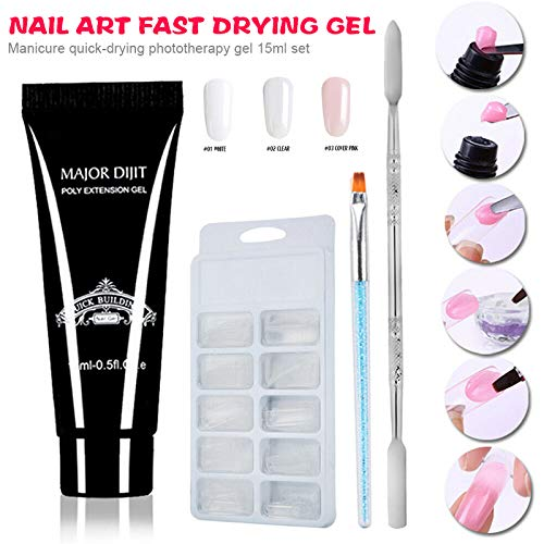 Horloges Gel Nagel Polijsten, Nagel Poly Gel Kit Nagel Verlenging Droog Polygel Builder Manicure Penseel 15 ml Poly Extension Gel