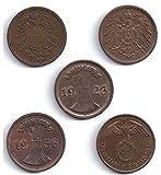 1900 DE 5 DIFF RARE LG BRONZE GERMAN 2 PFENNIG COINS! COMPLETE SET ALL TYPES INCL NAZI!! LOWEST PRICE! 2 PFENNIGS AVF to AU