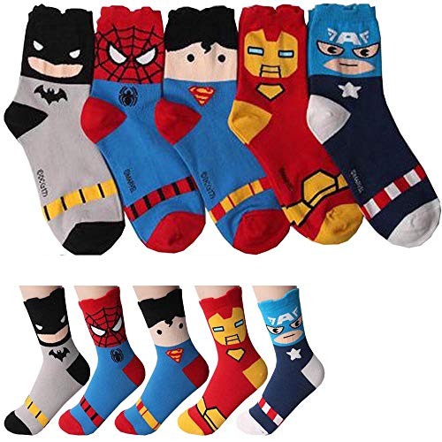 Superheld Charakter Mannschafts Socken 5 Paaren - Iron Man, Batman, Kapitan Amerika, Spider Man, Superman