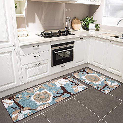 HEBE Kitchen Rug Set 2 Pieces Non-Skid Machine Washable...
