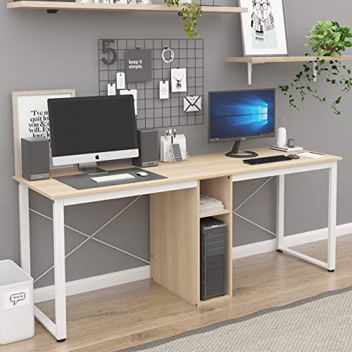 Soges Escritorio de oficina para 2 personas, escritorio grande de doble estación de trabajo, escritorio de 200 cm con almacenamiento, mesa de ordenador estudio estación de trabajo