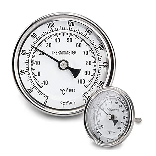 JIXIN Termómetro De Esfera De 3', Termómetro De Acero Inoxidable para Elaboración Casera, Termómetro para Hervidor De Agua 1/2 NPT (2 Piezas)