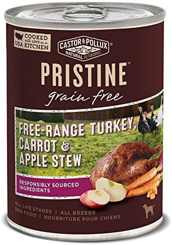 Castor Pollux Pristine Grain Free Free Range Turkey Carrot Apple Stew Canned Dog Food 12 12 product image