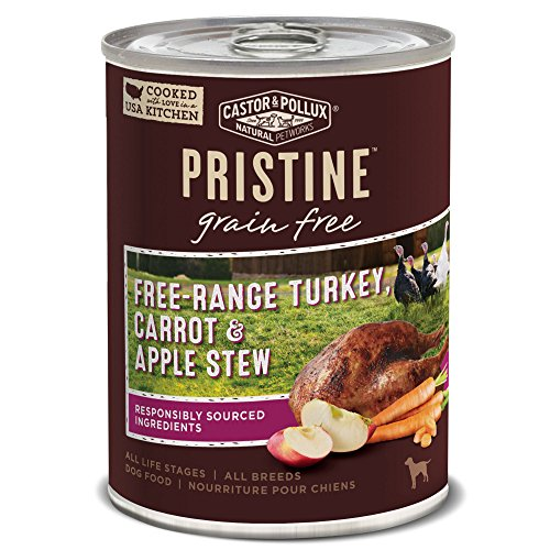 Castor & Pollux Pristine Grain Free Free-Range Turkey, Carrot & Apple Stew Canned Dog Food, (12) 12..7oz cans