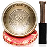 CAHAYA Tibetan Singing Bowls with Cushion and Mallet 3.7inches Meditation Sound Bowl Handcrafted in Nepal for Yoga Healing Deep Relaxation etc.