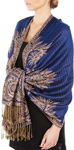 "Sakkas 70"" x 28"" Big Paisley Jacquard Layered Woven Pashmina Shawl/Wrap Stole"