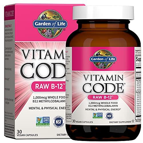 Jardín de vida–Vitamina B121000mcg–Raw de código de vitamina B12Whole Food Supplement, 30Cápsulas
