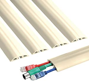6.5 ft Floor Cable Cover - Straight Cord Protector - Durable Low Profile PVC Duct - Flexible 3 Channel Wire Cover in Workshop, Concerts, Office Home Doorway, 5X L15.6in W2in H0.5in, Beige