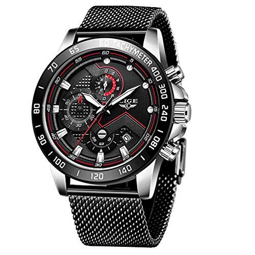 Uhren Herren Luxus Edelstahl Mesh Band Chronograph Quarz Uhr Schwarz Männer Datum Kalender Wasserdicht Multifunktions Armbanduhr Weiß