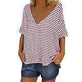 Femmes Casual col en v rayé 3/4 Manches Mélange de Coton t-Shirts décontractés Dames Loose Plus Size Top Chemisier Bringbring