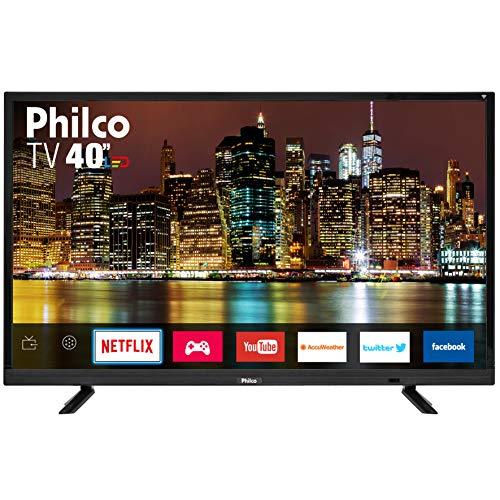 "Smart TV LED 40"" Philco PTV40E21DSWN FULL HD com Conversor Digital 2 HDMI 2 USB Wi-Fi Netflix - Preta"