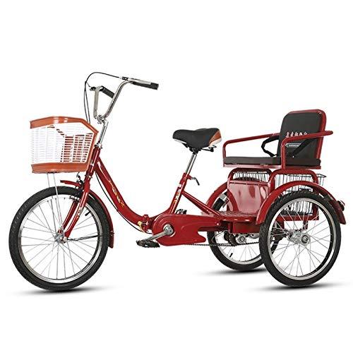 SN 20 Zoll Dreirad Für Erwachsene 3 Rad Trike Bike Mit Frachtkorb Und Einstellbare Lenker Und Rücksitz Für Senioren, Frauen, Männer Einkaufspicknick (Color : B)