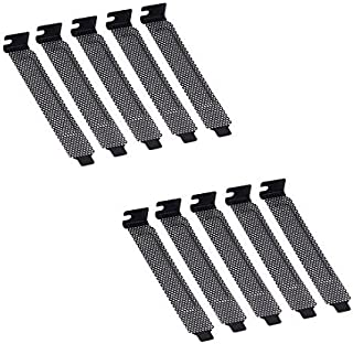 coolxan 10pcs New Black PCI Slot Cover Dust Filter Blanking Plate Hard Steel w/Screws