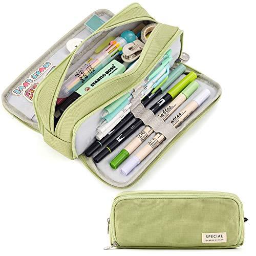CICIMELON Large Capacity Pencil Case 3 Compartment Pouch Pen Bag for School Teen Girl Boy Men Women (Green)