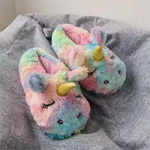 PUK Chaussures en Coton d'hiver pour Femmes Pantoufles de Licorne de Dessin animé Mignon Casual Chaussures de Maison Chaudes pour Dames Diapositives en Peluche Tongs à Fourrure, comme indiqué, 8