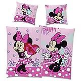 Disney Minnie Mouse Flanell Kinder Wende-Bettwäsche Herz Pink Rosa 135 x 200 cm + 80 x 80 cm mit YKK-Reißverschluss 100% Baumwolle Biber Minnie Maus Disney Mickey Maus Sweet Love Deutsche Größe